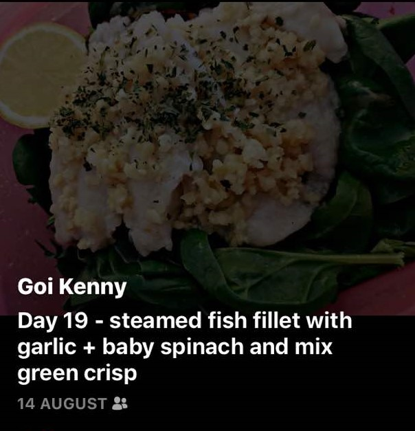 Day 19 - Steamed Fish Fillet with Garlic + Baby Spinach & Mix Green Crisp