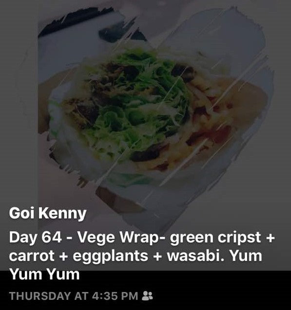 Day 64 - Vege Wrap: Green Crips + Carrot + Eggplants + Wasabi